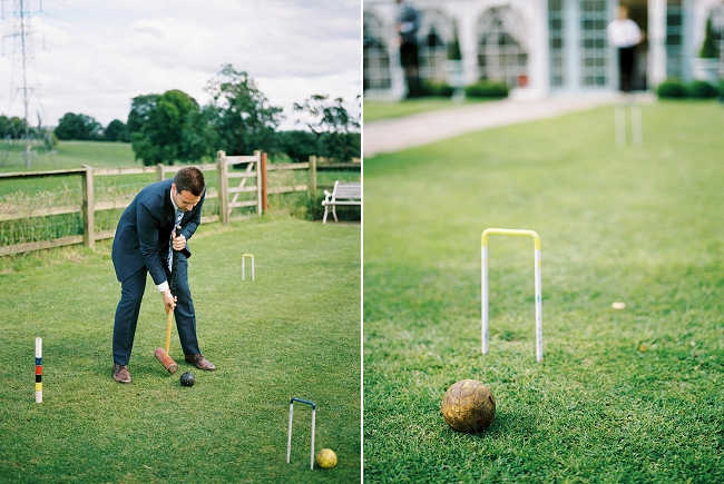 playing croquet at hilltop country house wedding venue