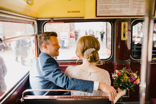 Vintage red wedding bus Chester