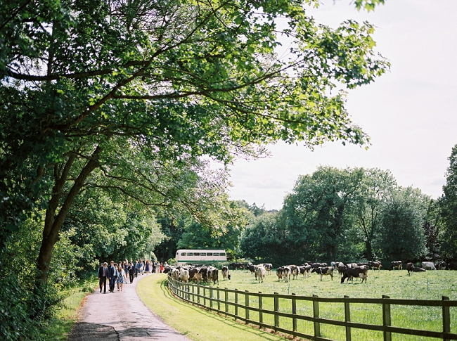 Hilltop country house vintage wedding bus