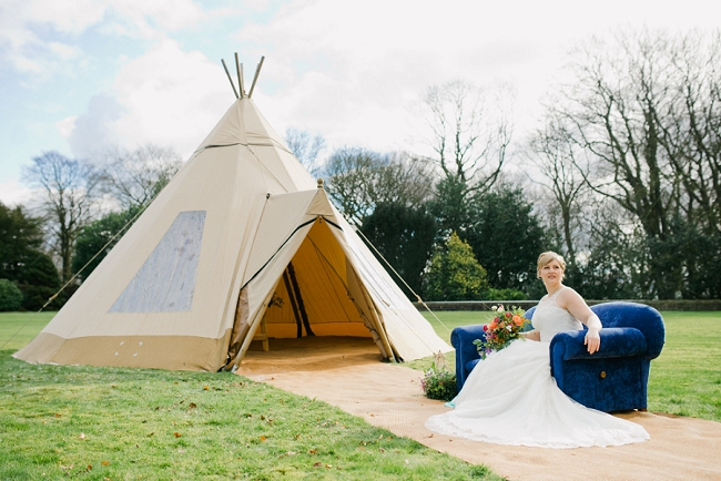 colourful tipi wedding lancashire