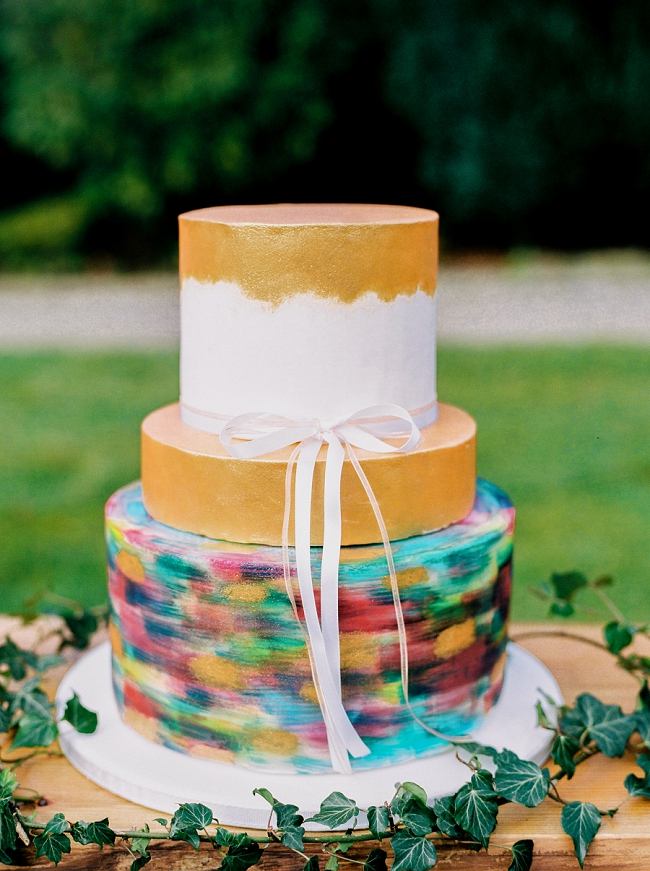 bright colourful painterly wedding cake