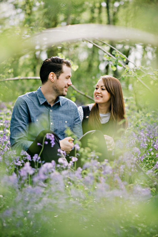 pre wedding shoot with bluebells