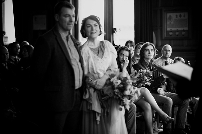 emotional bridesmaid at a chester town hall wedding