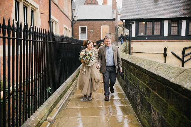 bride and groom on chester city wall