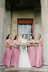 bride and bridesmaids in dusky pink at shrigley hall hotel