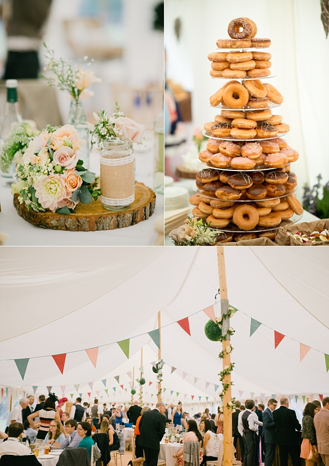 doughnut tower at a glebe farm marquee wedding
