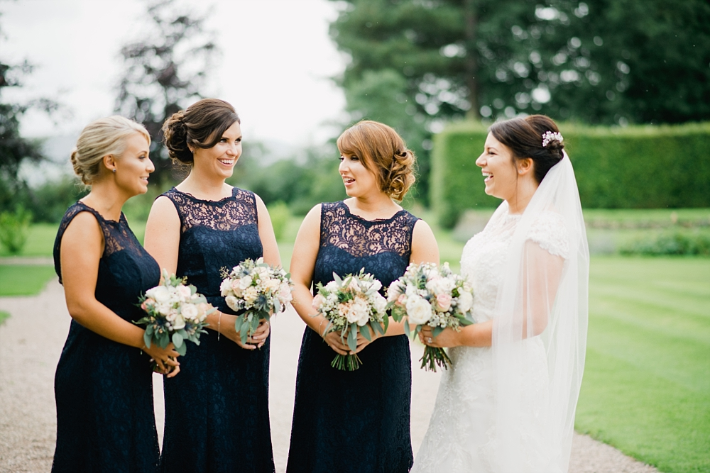 bridesmaids in navy at eaves hall