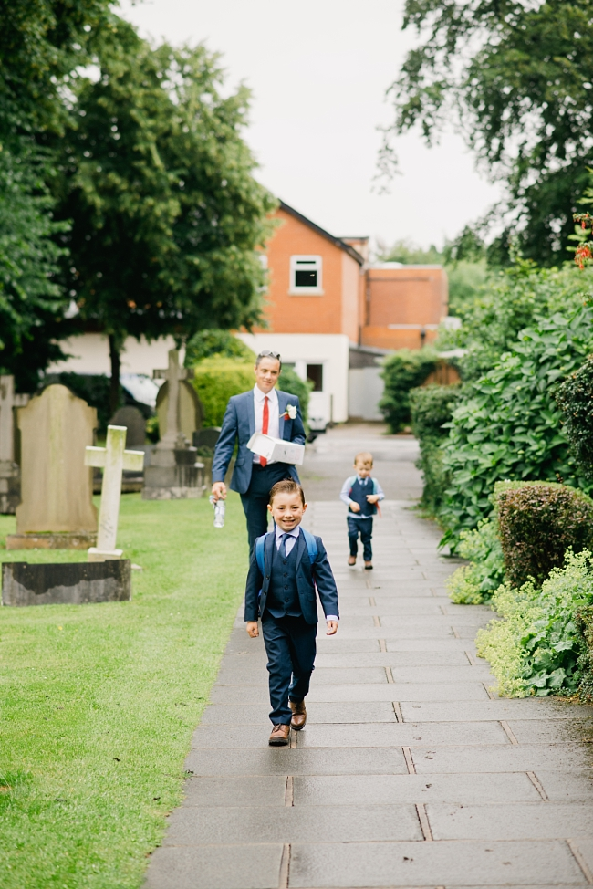 pageboys walking to church