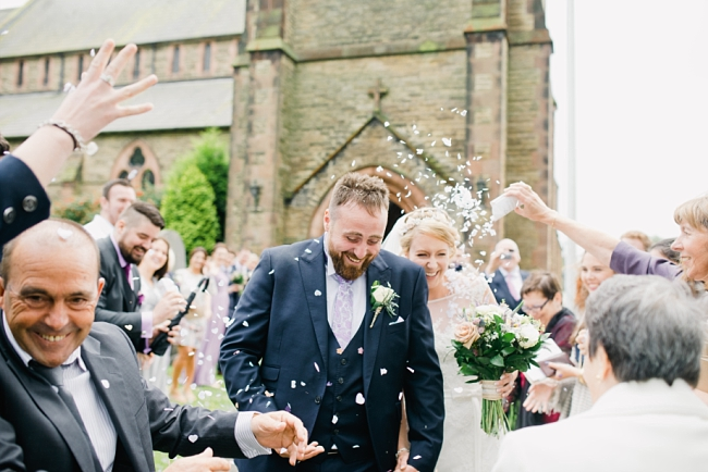 guests with confetti