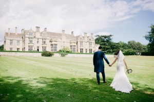 bride and groom in grounds