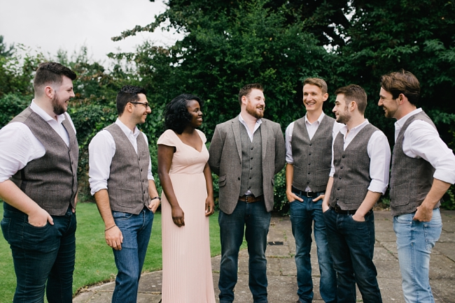 groom in jeans and tweed
