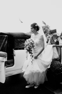bride and classic car