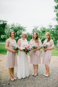 bride and bridesmaids in pale pink
