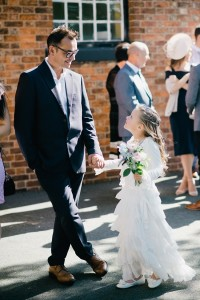 flower girl and father