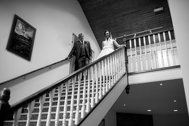 bride on balcony at garstang hotel