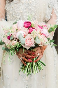 bridal bouquet and henna