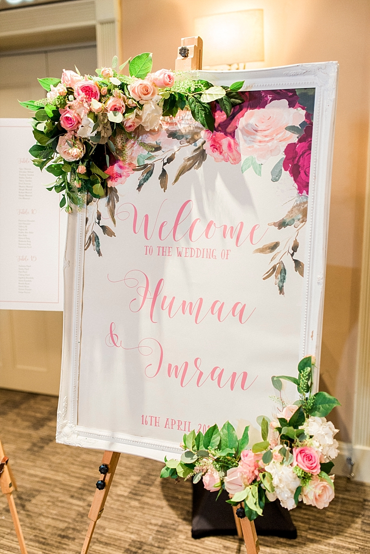 wedding sign with calligraphy and flowers