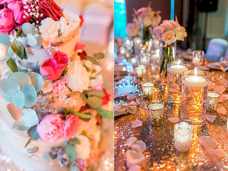 wedding with copper and pink sparkles