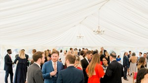 mingling in marquee