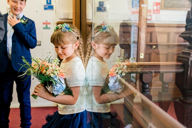 flower girl in navy tutu