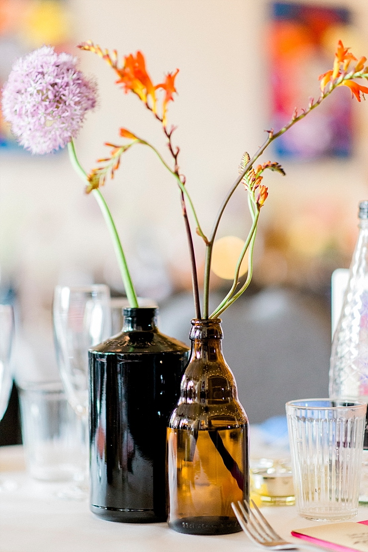 brown bottles centrepiece