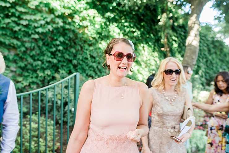 wedding guests at ravello town hall gardens