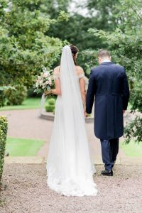 bride and groom at eaves hall clitheroe