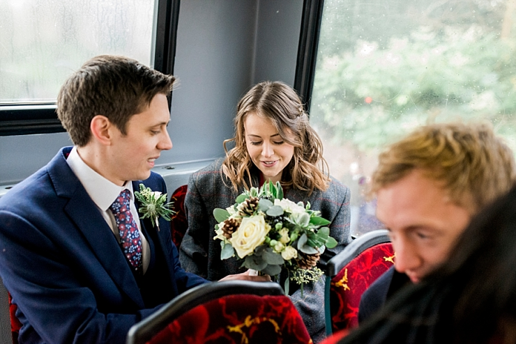bride and groom on bus