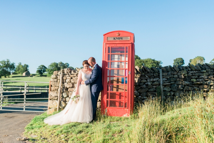 red phone box at wedding