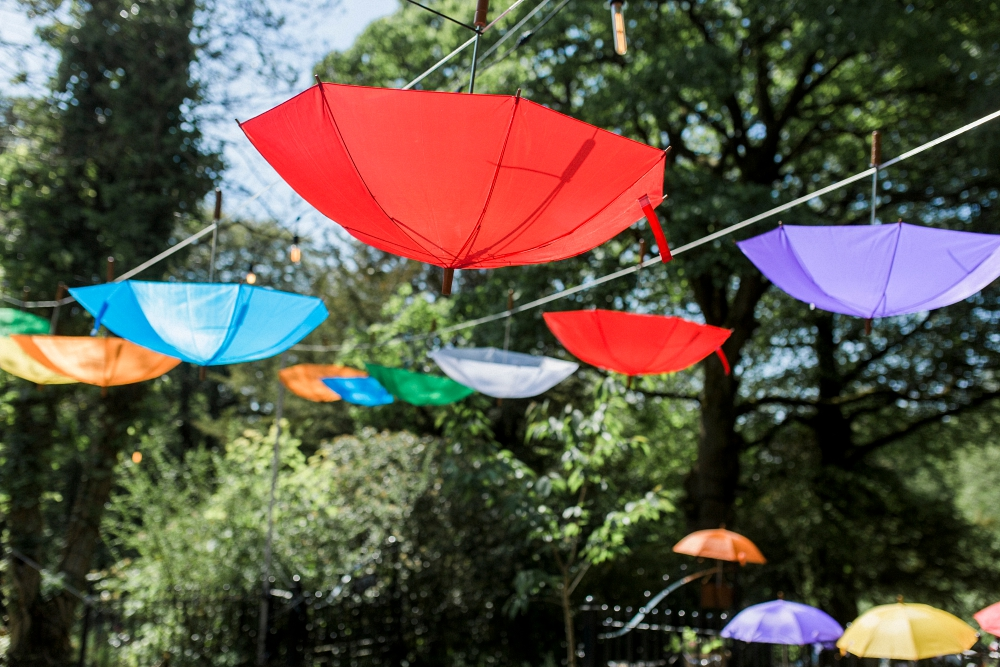 colourful umbrellas at wedding