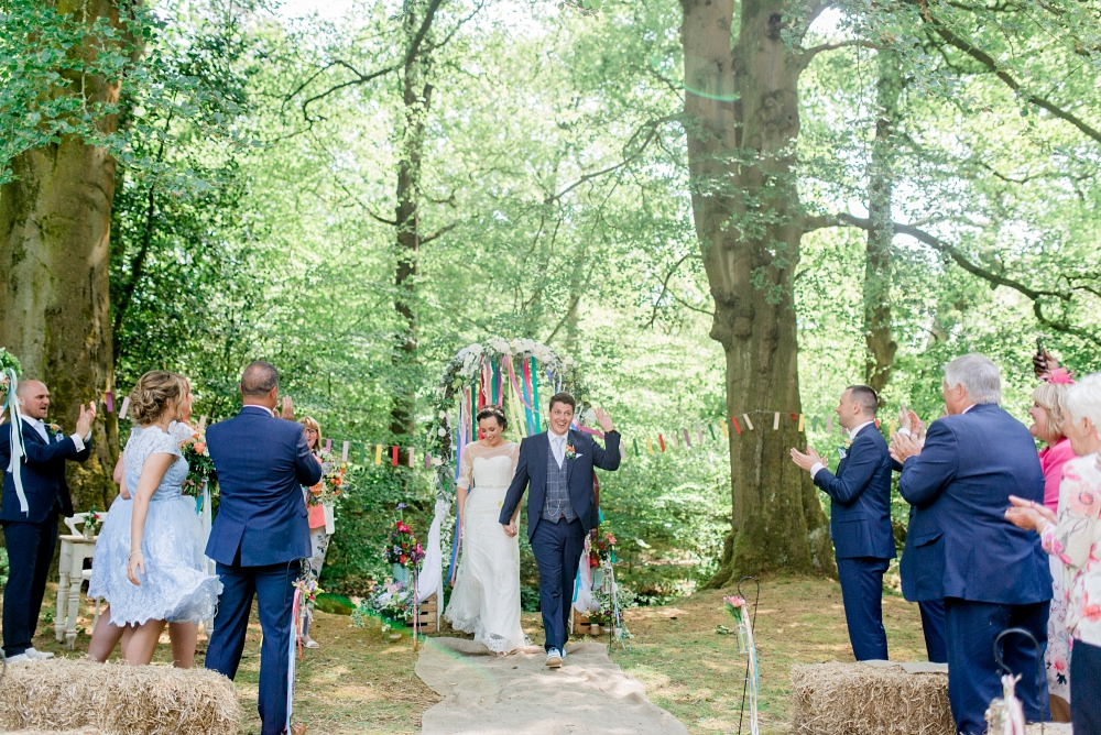 just married in the woods