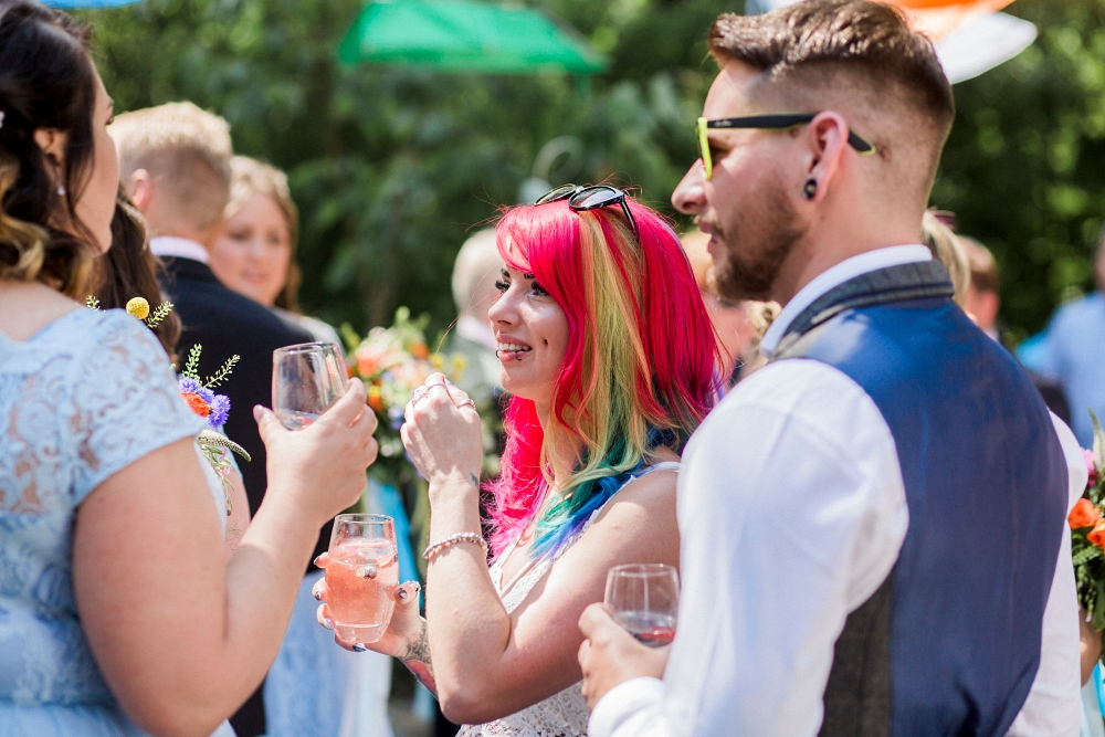 rainbow hair at wedding