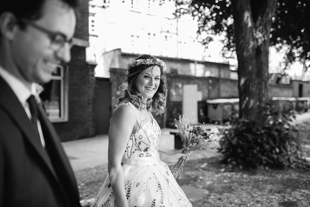 relaxed bride walking