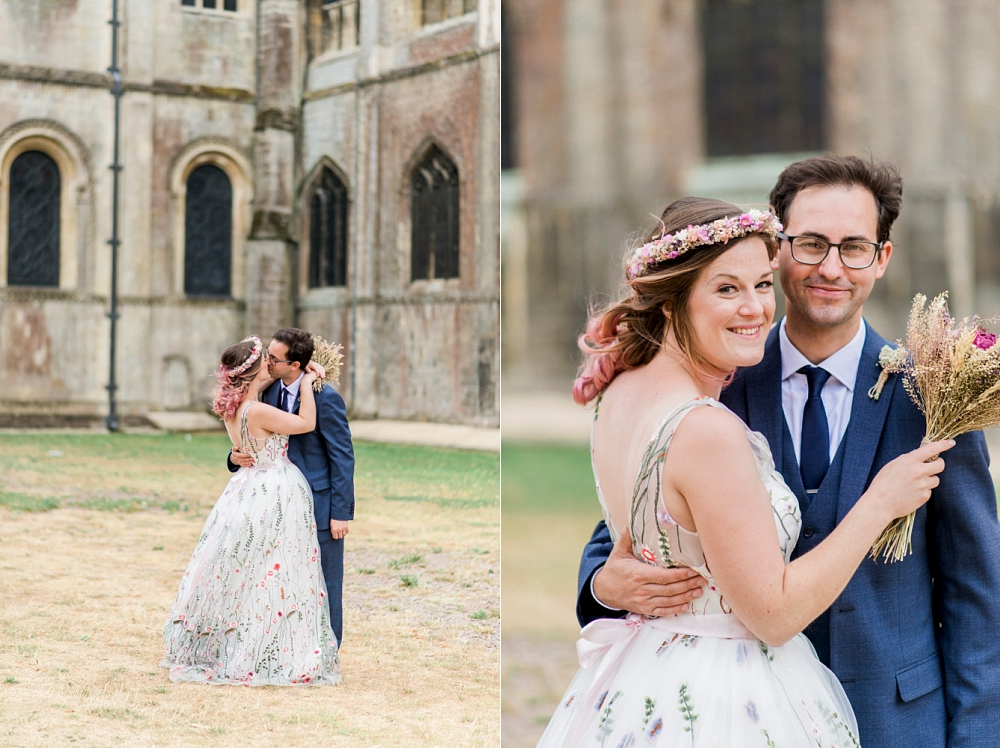 bride and groom at ely cathedral