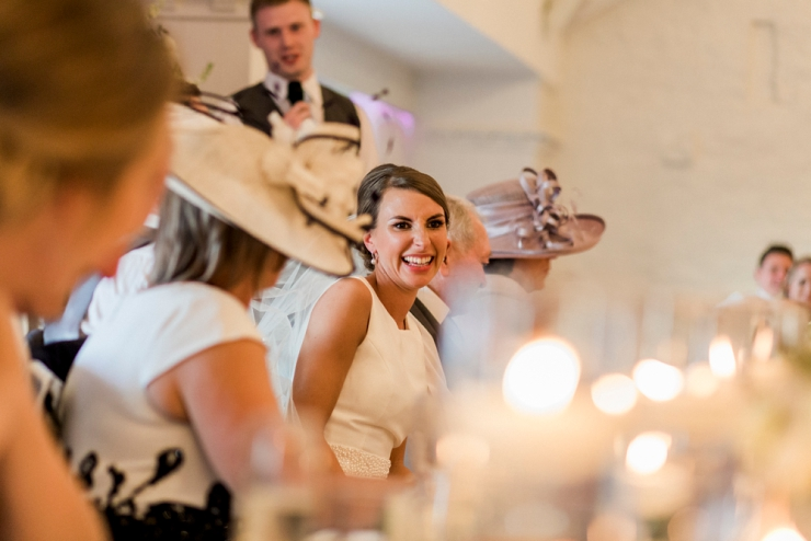 bride laughing at speech