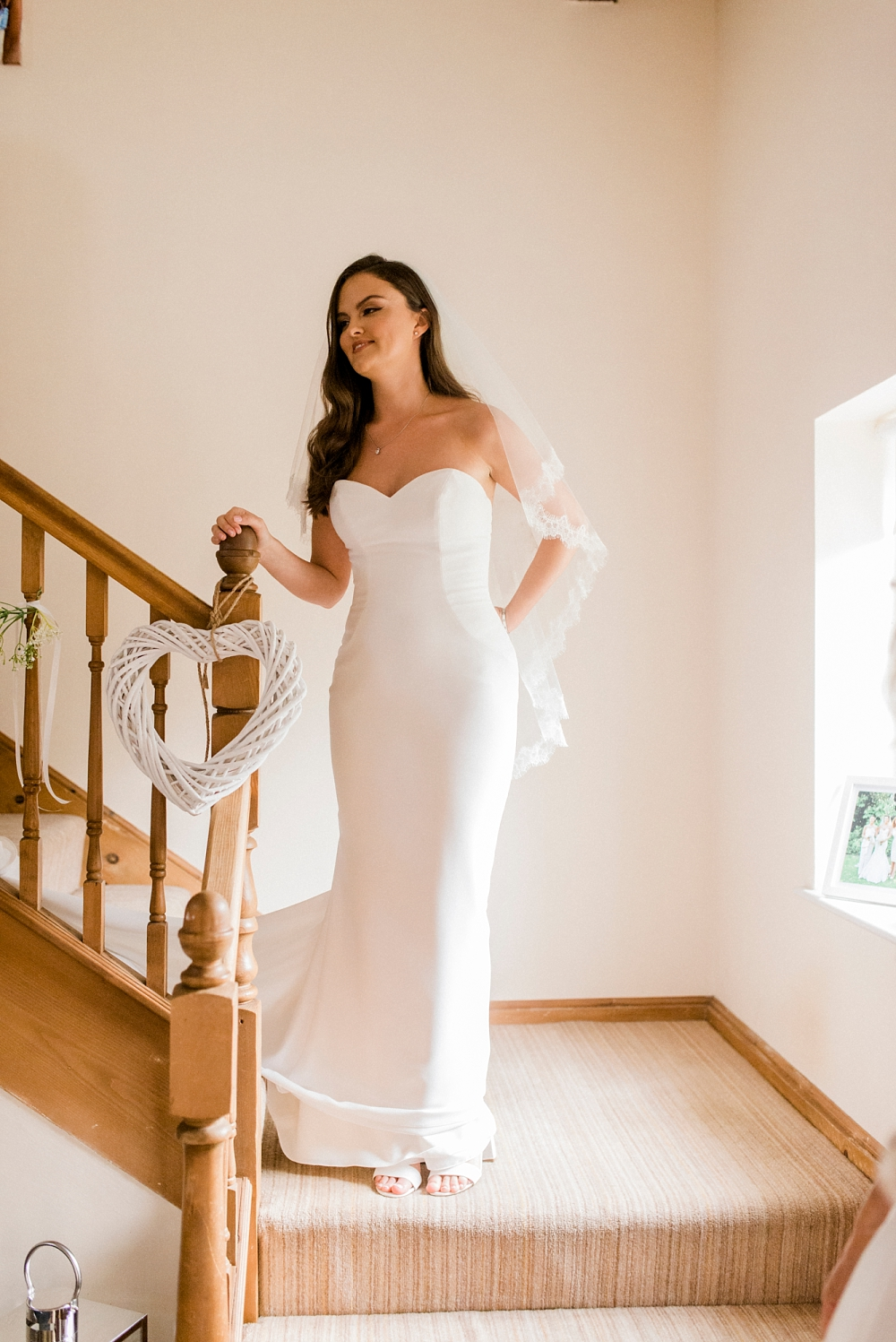 classic bride on staircase