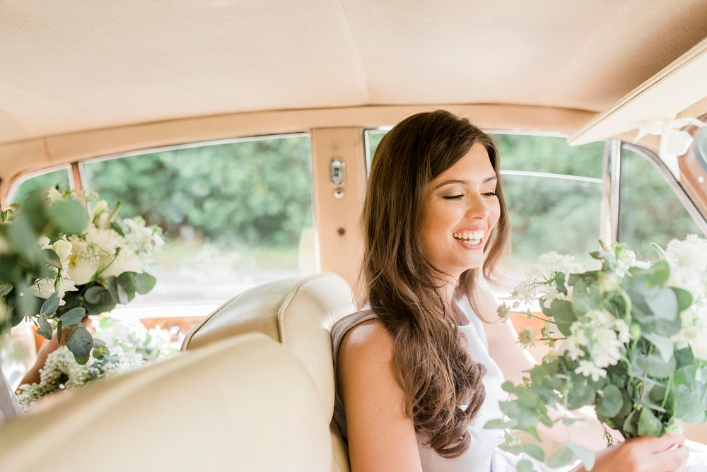 bridesmaid in wedding car
