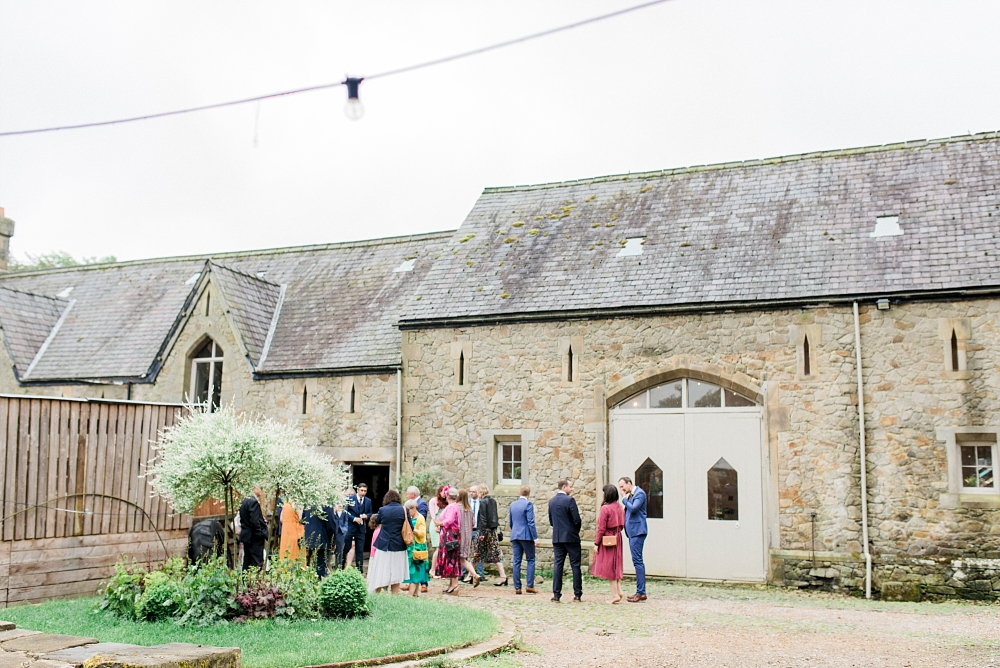 wyresdale park wedding guests outside