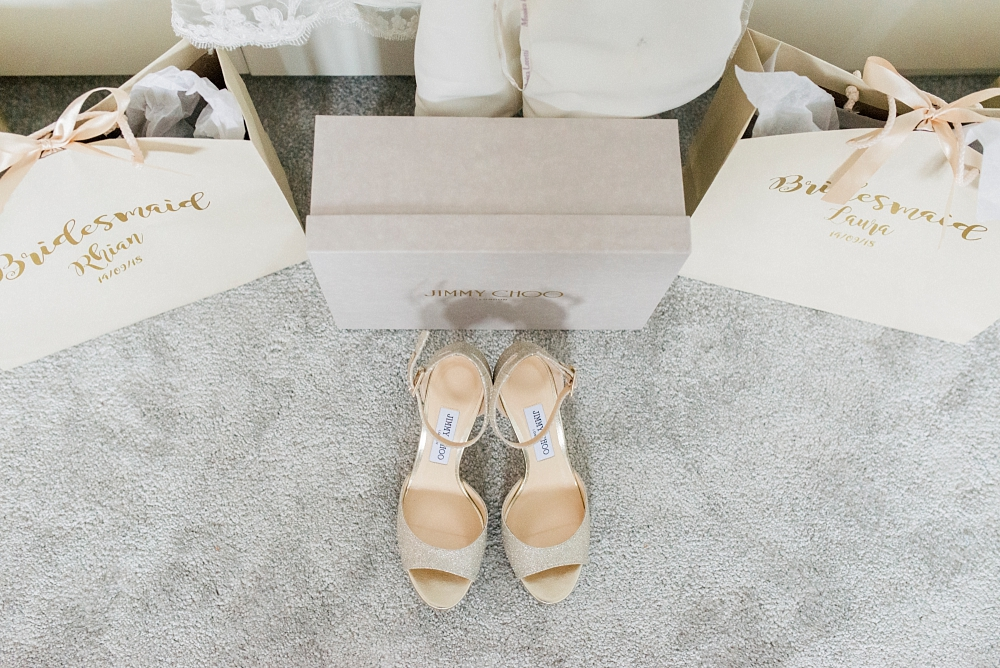 jimmy choo wedding shoes on grey carpet