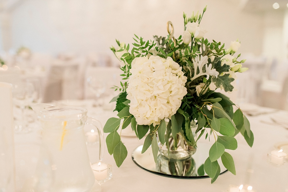 table centrepiece white flowers