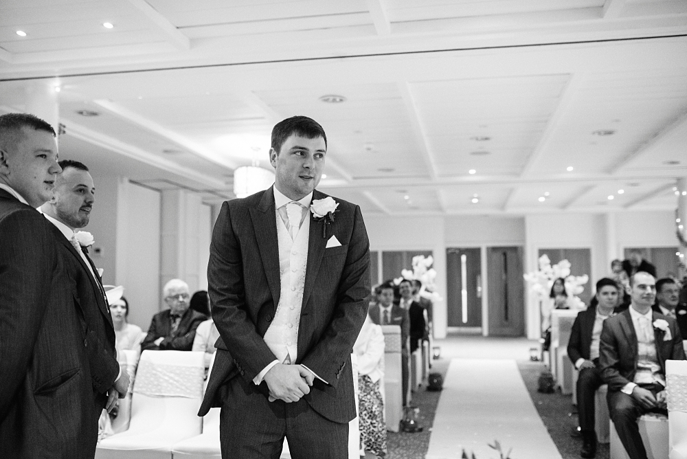 nervous groom at stanley house wedding ceremony