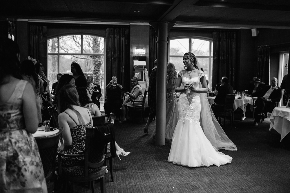 bride in drinks reception at stanley house hotel