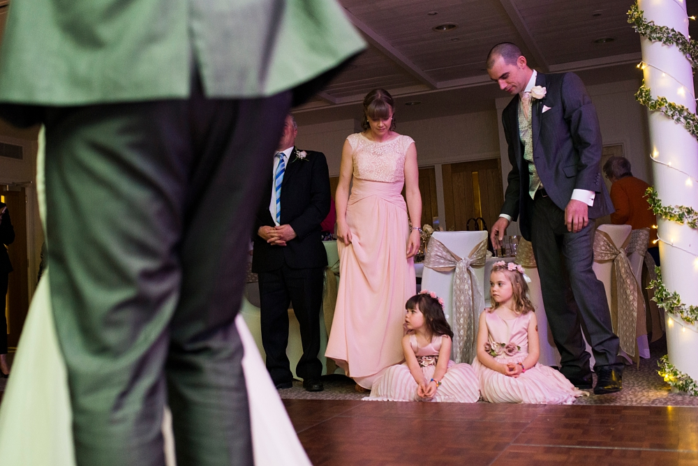 flower girls watch first dance