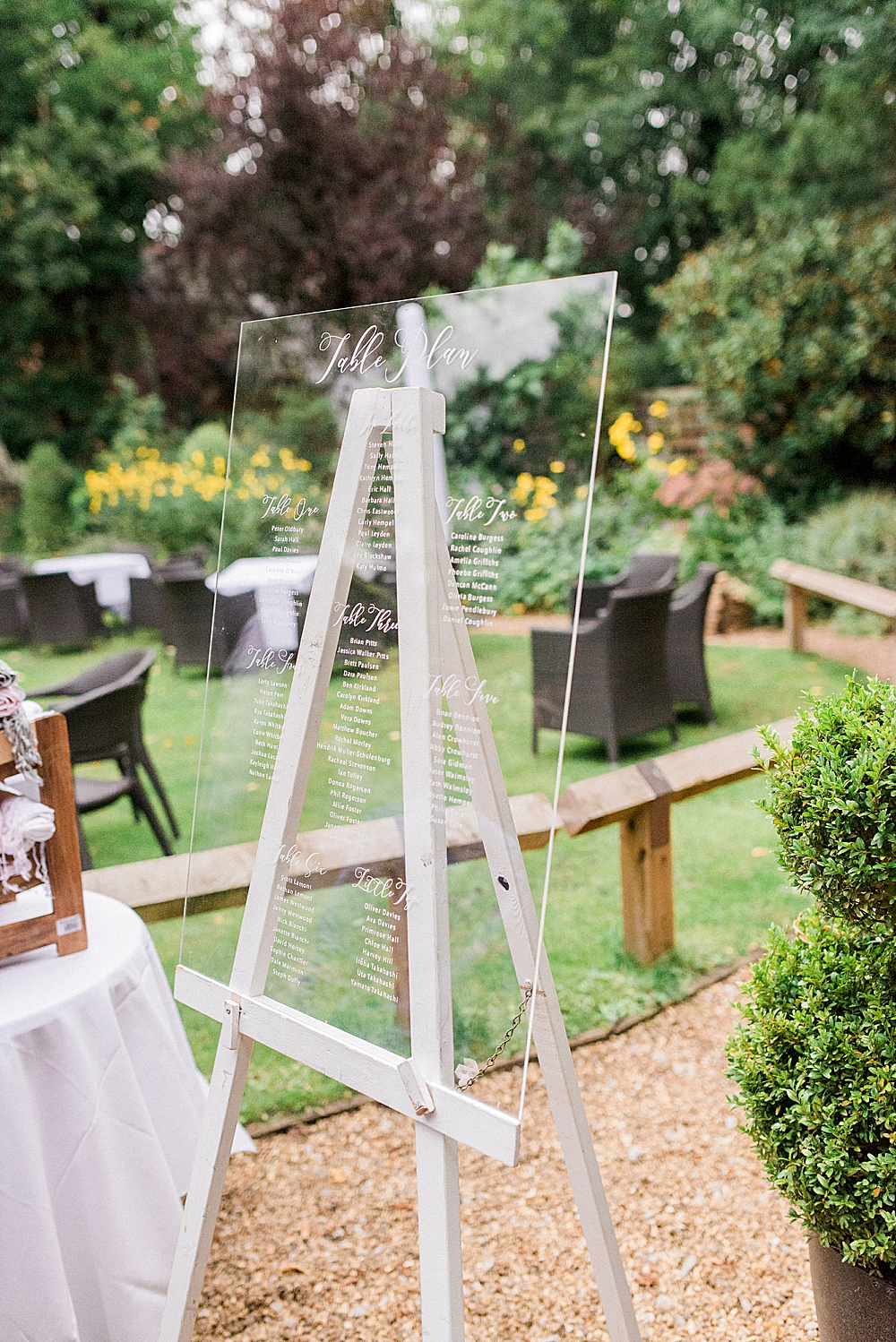 perspex seating plan with calligraphy