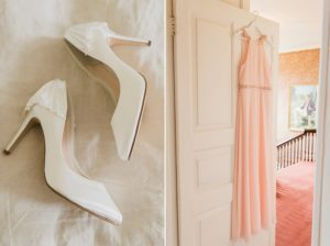 brides shoes and pink bridesmaid dress