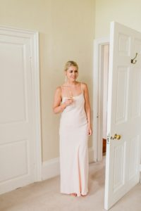bridesmaid in pale pink at Ardington House