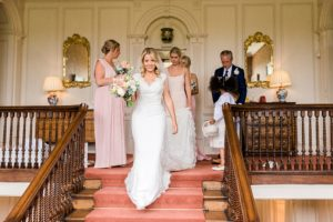 bridal party on stairs at Ardington House
