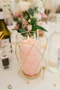 geometric pink candle centrepiece
