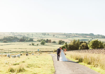 bride and groom walk through field of sheep