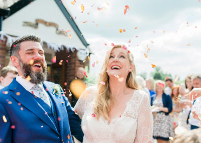 confetti throw at village hall wedding